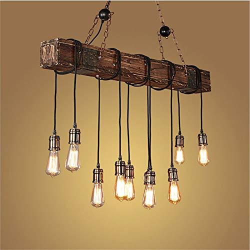 Pendelleuchte Vintage Pendellampe Höhenverstellbar Holz Retro Industrial Hängeleuchte Kronleuchter E27 Lampe für Esstisch Küche Wohnzimmer Bar Cafe (10 Sockel)