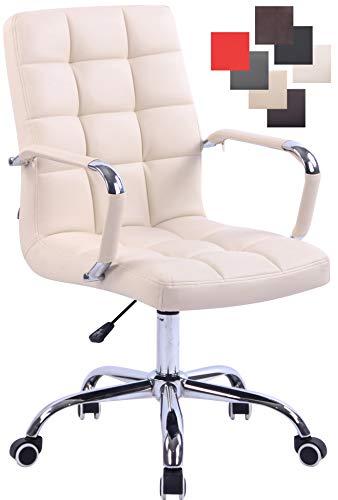 CLP Bürostuhl Deli mit Kunstlederbezug und hochwertiger Polsterung I Drehstuhl mit höhenverstellbarer Sitzhöhe, Farbe:Creme