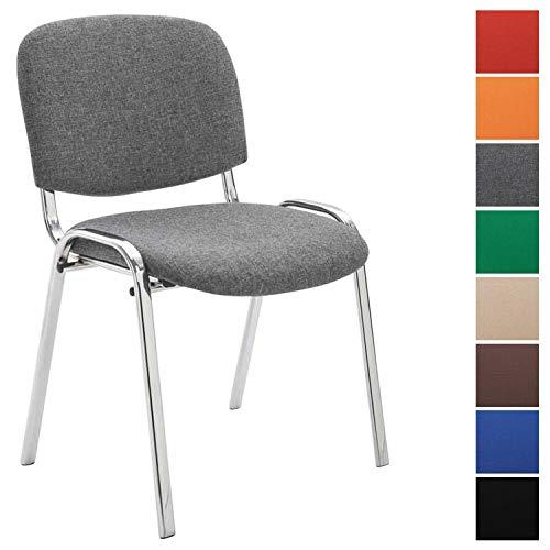 Konferenzstuhl Ken Chrom mit hochwertiger Polsterung und Stoffbezug I Stapelstuhl mit robustem Metallgestell in Chromoptik, Farbe:grau