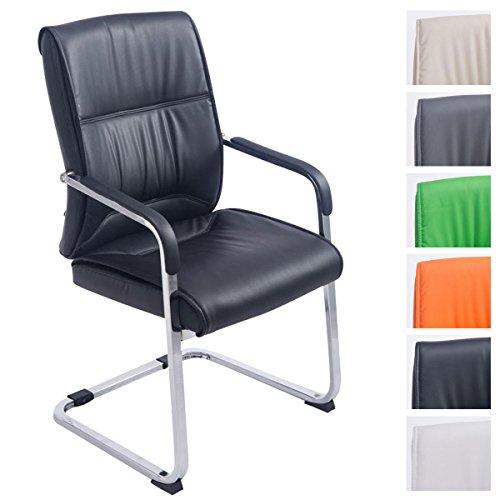 XXL-Freischwinger Anubis mit Kunstlederbezug und gepolsterter Sitzfläche I Pflegeleichter Konferenzstuhl mit Armlehne, Farbe:schwarz