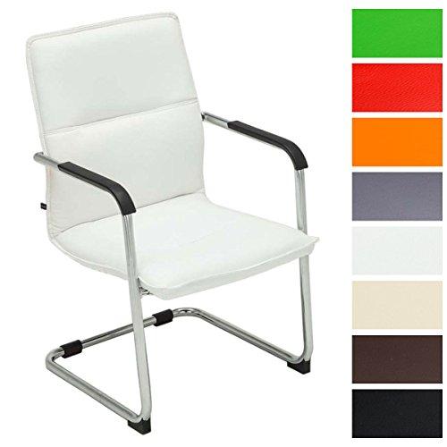 CLP Freischwinger Seattle mit Armlehne I Konferenzstuhl mit hochwertiger Polsterung und Kunstlederbezug, Farbe:weiß