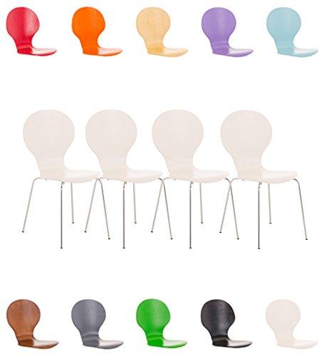 CLP 4X Stapelstuhl Diego l Ergonomisch geformter Konferenzstuhl mit Holzsitz und Metallgestell I Stapelbarer Stuhl mit pflegeleichter Sitzfläche Weiß