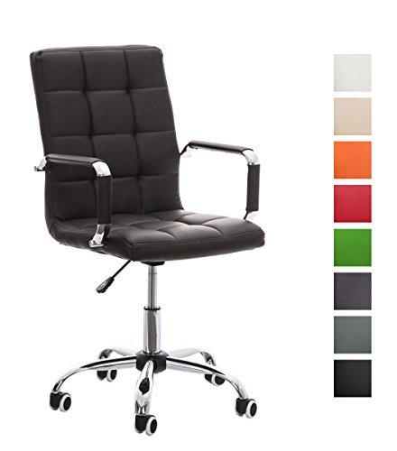 CLP Bürostuhl Deli V2 mit Kunstlederbezug und hochwertiger Polsterung I Drehstuhl mit höhenverstellbarer Sitzhöhe, Farbe:braun