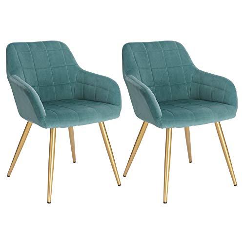 WOLTU® Esszimmerstühle BH232ts-2 2er Set Küchenstuhl Polsterstuhl Wohnzimmerstuhl Sessel mit Armlehne, Sitzfläche aus Samt, Gold Beine aus Metall, Türkis
