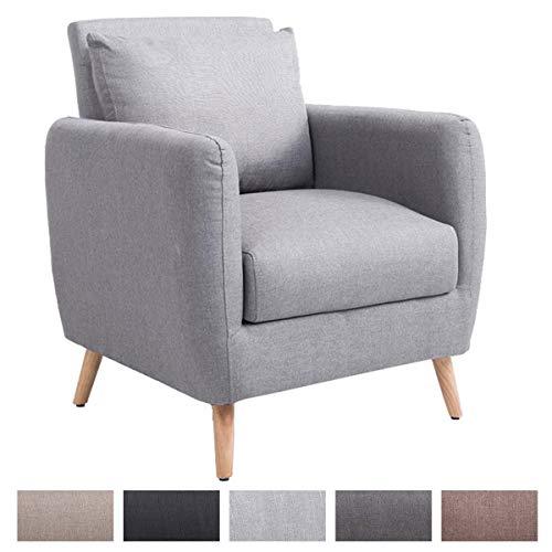 Polstersessel TILGARD mit Armlehnen und Stoffbezug I Belastbarer Loungesessel mit Holzbeinen, Farbe:grau