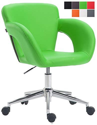 CLP Bürostuhl Edison mit Kunstleder-Bezug, Bürosessel mit stufenloser Sitzhöhenverstellung, Schreibtischstuhl mit Armlehnen, Farbe:grün