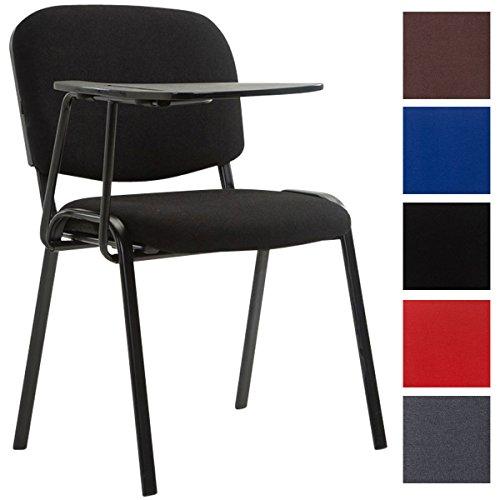 CLP Besucherstuhl Ken mit Klapptisch | Robuster Konferenzstuhl mit gepolsterter Sitzfläche und Stoffbezug, Farbe:schwarz