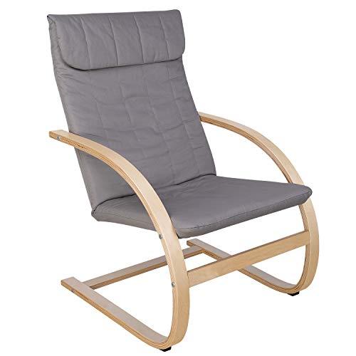 HOMECHO Relaxstuhl Relaxsessel Schwingsessel Ruhesessel Freischwinger Stuhl 100% Baumwolle Skandinavische Mode Grau Birkenholz Belastbarkeit 120 kg
