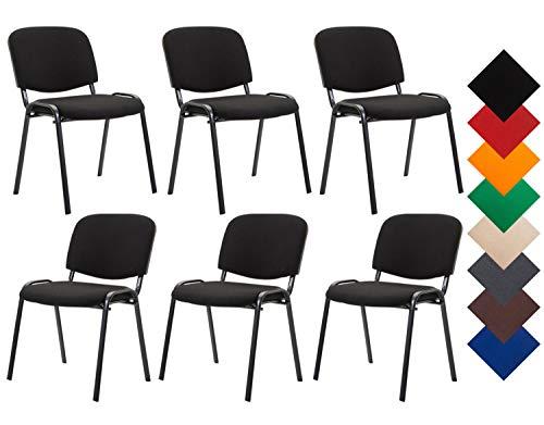 CLP 6er Set Besucherstuhl Ken Stoff I Stapelstuhl Mit Robustem Metallgestell I Polsterstuhl Mit Rückenlehne, Farbe:schwarz