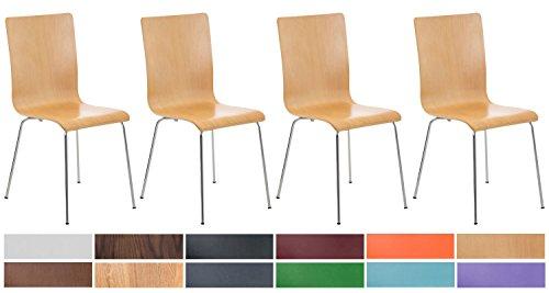 CLP 4er-Set Wartezimmerstuhl Pepe mit ergonomisch geformten Holzsitz und Metallgestell I 4X Konferenzstuhl erhältlich, Farbe:Natura