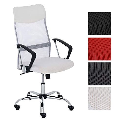Bürostuhl Washington höhenverstellbarer Drehstuhl mit Wippfunktion | Schreibtischstuhl mit Netzbezug I stabiles Metall Drehkreuz, Farbe:weiß