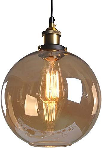 Huahan Haituo Pendelleuchte Light Vintage industriellen Metall-Finish Klarglas Glaskugel Runde Schatten Loft Pendelleuchte Lampe Retro Decke Licht Vintage Lamp(Bernstein,25CM)