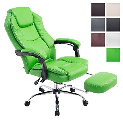 Bürostuhl Castle mit Kunstlederbezug I Ergonomischer Bürosessel mit höhenverstellbarer Sitzhöhe I Drehstuhl mit ausziehbarer Fußablage, Farbe:grün
