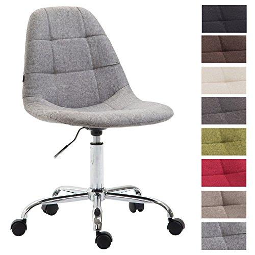 Bürostuhl Reims Mit Stoffbezug I Schreibtischstuhl Mit Gestepptem Sitz I Höhenverstellbarer Arbeitsstuhl Mit Metallgestell, Farbe:grau