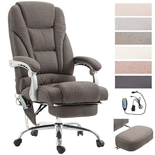 Chefsessel Pacific Stoff mit Massagefunktion l Höhenverstellbarer Bürostuhl mit ausziehbarer Fußablage l Max. belastbar bis 150 kg, Farbe:dunkelgrau