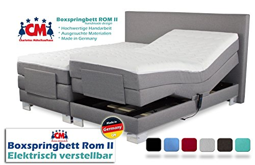 Charlottes Möbelkaufhaus Boxspringbett ROM II 200x200 cm elektrisch verstellbar, 2 Motoren, Manufaktur Design. Härtegrad H2/H3. Qualität Made in Germany (200 x 200 cm)