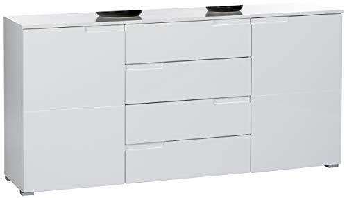 Stella Trading Sideboard Weiß Hochglanz, Wohnzimmerschrank BxHxT 165 x 80 x 40 cm