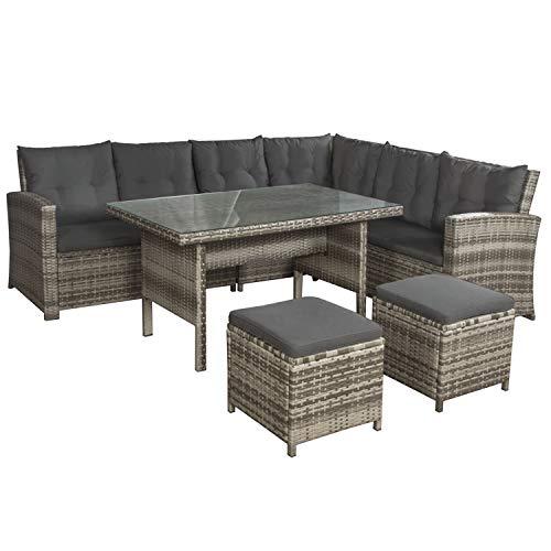 ArtLife Polyrattan Lounge Set Santa Catalina beige-grau – Gartenmöbel-Set mit Ecksofa, Tisch, 2 Hocker, Kissen - Sitzgruppe wetterfest bis 6 Personen